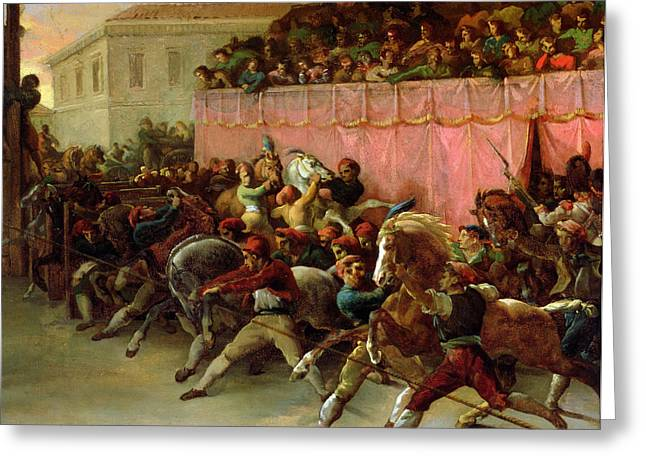 The Riderless Racers at Rome Greeting Card by Theodore Gericault