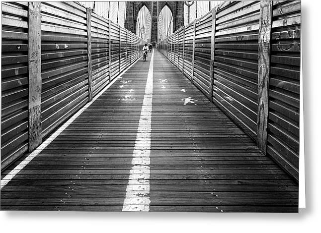 The Riders Brooklyn Bridge Greeting Card by John Farnan