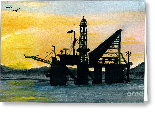 Sea Platform Paintings Greeting Cards - The Rig Greeting Card by R Kyllo