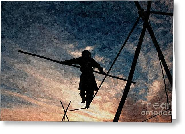 Walking Tightrope Greeting Cards - The right balance Greeting Card by Franck Metois