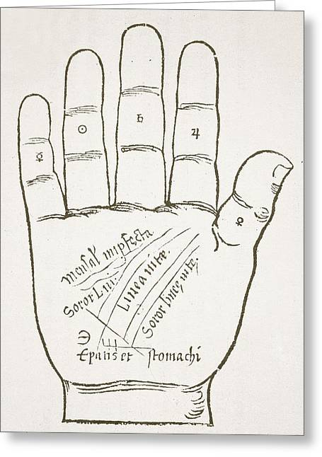 Fortune-telling Greeting Cards - The Right Hand, Principal Lines, Copy Greeting Card by French School