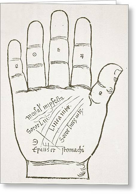Antique Palmistry Diagram  The Right Hand, Principal Lines Greeting Card by French School