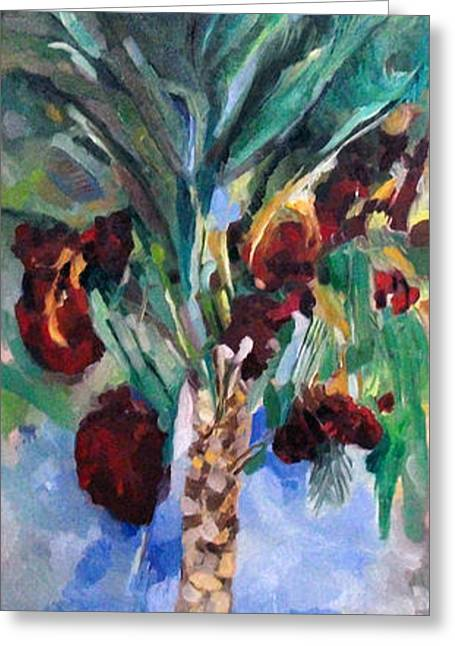Inner Self Paintings Greeting Cards - The righteous will flourish like the date palm tree Greeting Card by David Baruch Wolk