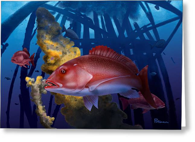 Snapper Greeting Cards - The Rigs Greeting Card by Kevin Putman