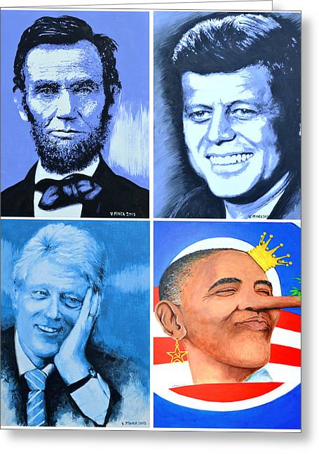 President Obama Greeting Cards - The Rise and the Fall of America Greeting Card by Victor Minca