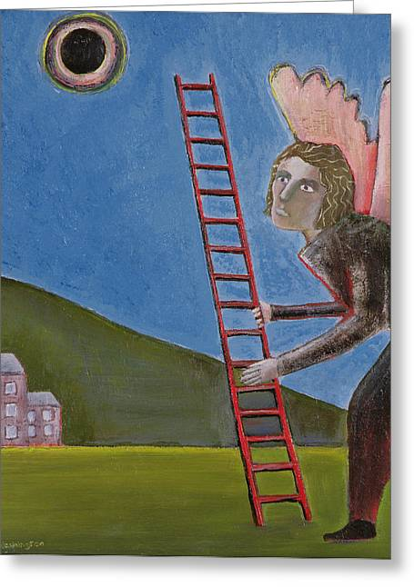 Ladder Greeting Cards - The Rise Of Icarus, 1989 Oil On Canvas Greeting Card by Celia Washington