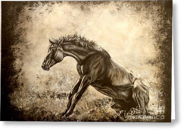 Watercolor. Equine. Bridle Greeting Cards - The Rise of Luzia Minera Greeting Card by Amanda  Stewart
