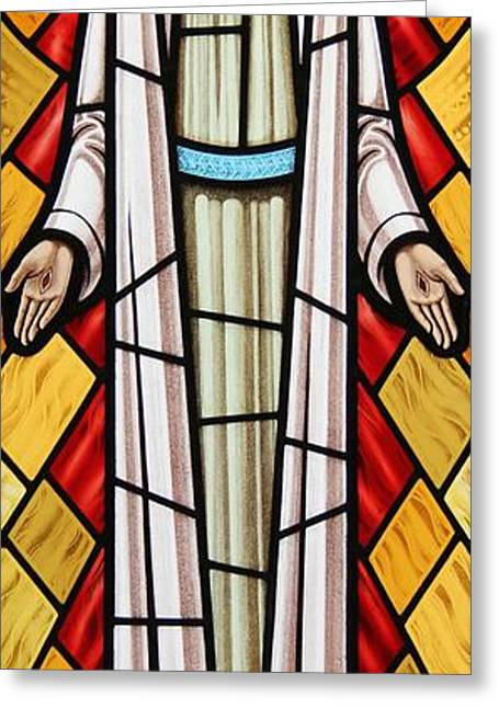 Jesus Glass Art Greeting Cards - The Risen Christ Greeting Card by Gilroy Stained Glass