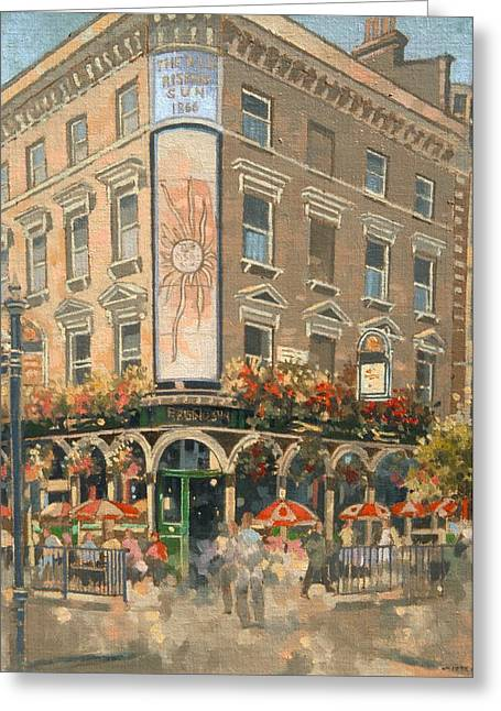 Pubs Greeting Cards - The Rising Sun, Marylebone Oil On Canvas Greeting Card by Peter Miller