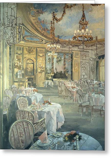 Empty Chairs Greeting Cards - The Ritz Restaurant Oil On Canvas Greeting Card by Peter Miller