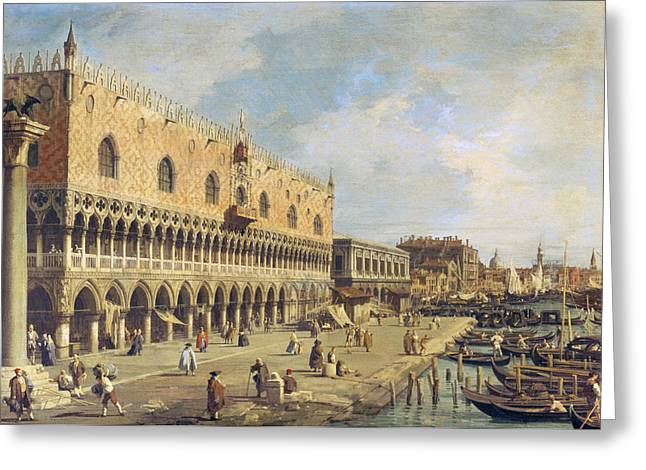 Quatrefoil Greeting Cards - The Riva Degli Schiavoni, Venice Oil On Canvas Greeting Card by Canaletto
