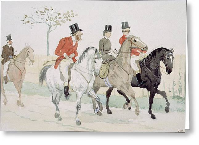 The Rivals Greeting Card by Randolph Caldecott