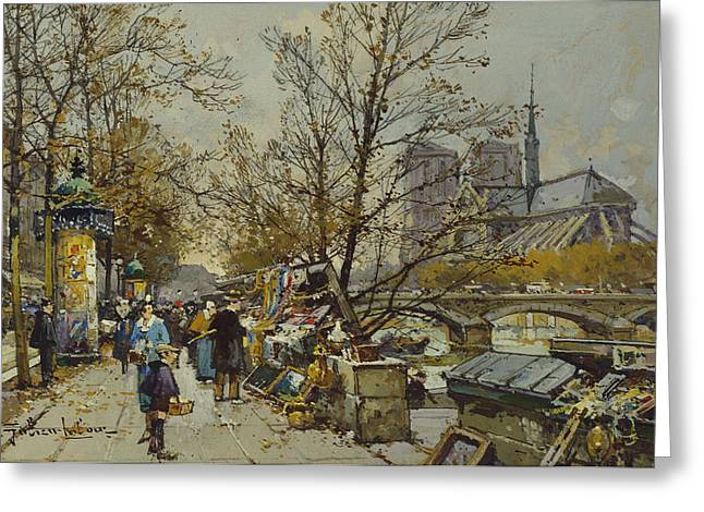 Traffic Greeting Cards - The Rive Gauche Paris with Notre Dame Beyond Greeting Card by Eugene Galien-Laloue