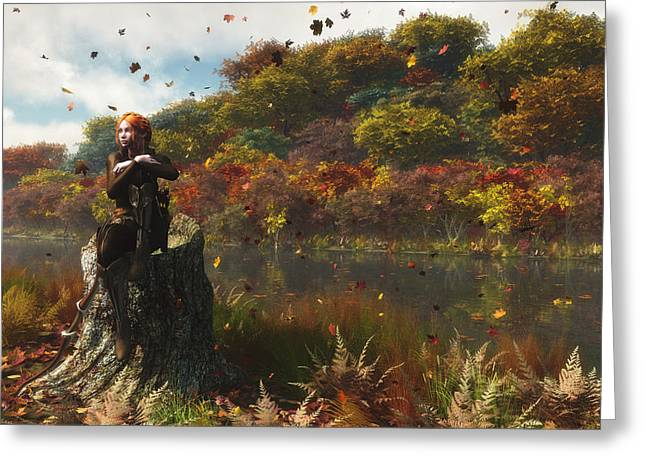 Melissa Krauss Greeting Cards - The River in Autumn Greeting Card by Melissa Krauss