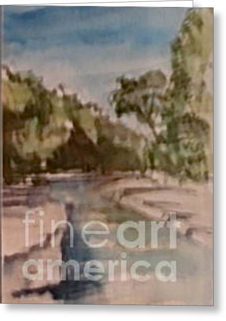 Stoneware Paintings Greeting Cards - The river in the stoneware Greeting Card by Alain Nantel