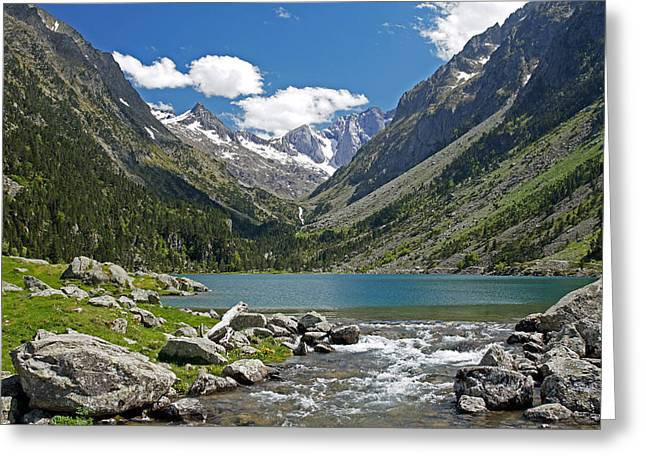 Midi Greeting Cards - The river leaving the Lac de Gaube Greeting Card by Rod Jones