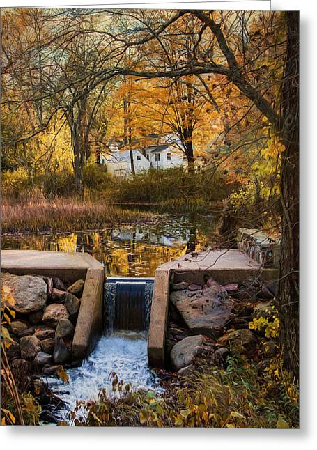 New England Village Greeting Cards - The River Runs Through It Greeting Card by Robin-lee Vieira