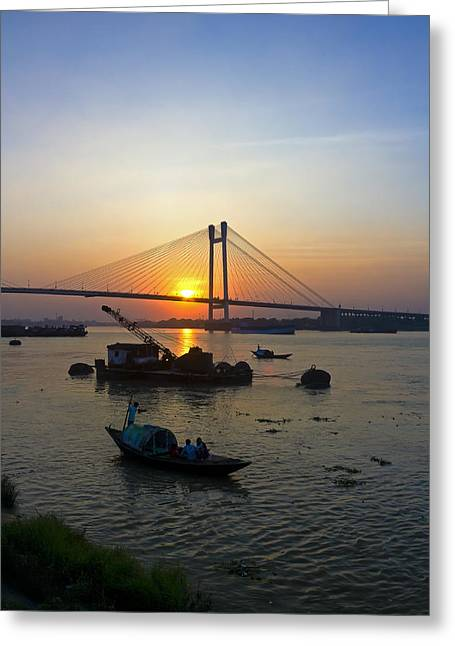 The Ganges Greeting Cards - The River Greeting Card by Sourav Bose