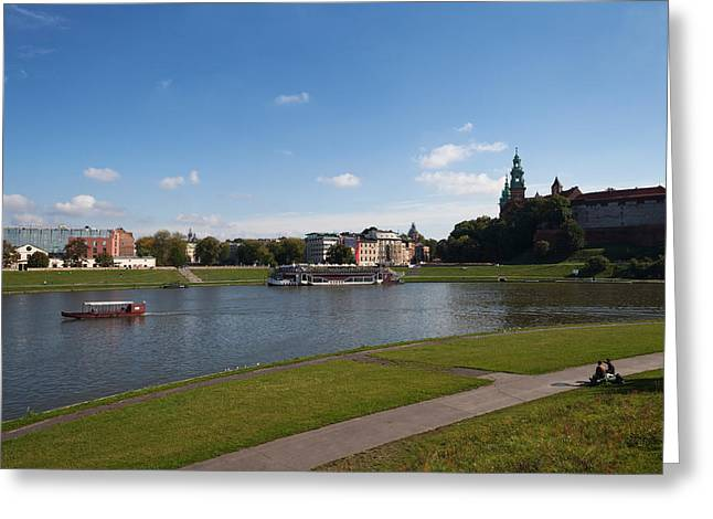 Krakow Greeting Cards - The River Wisla Passing The Distant Greeting Card by Panoramic Images