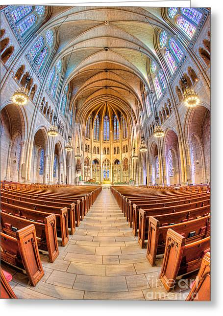 Morningside Heights Greeting Cards - The Riverside Church I Greeting Card by Clarence Holmes