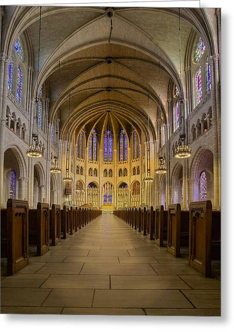 Morningside Heights Greeting Cards - The Riverside Church Greeting Card by Susan Candelario