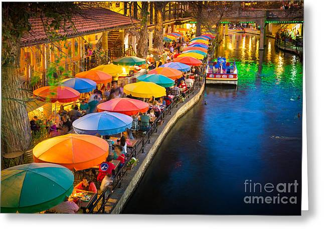 Umbrellas Greeting Cards - The Riverwalk Greeting Card by Inge Johnsson
