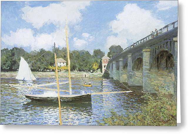 Sailboat Art Greeting Cards - The Road Bridge at Argenteuil Greeting Card by Claude Monet