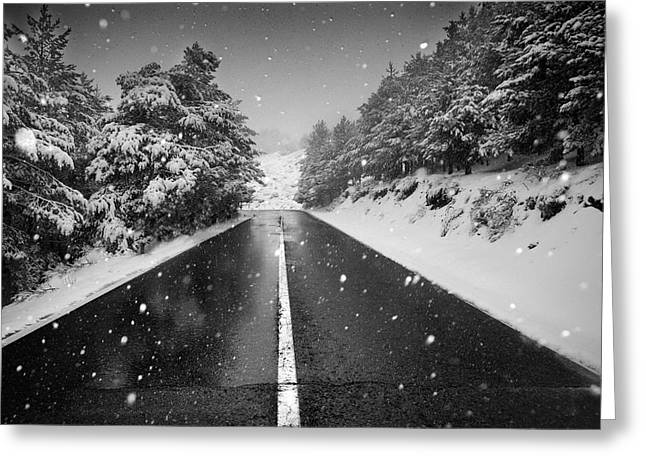 Mountain Road Greeting Cards - The road Greeting Card by Guido Montanes Castillo