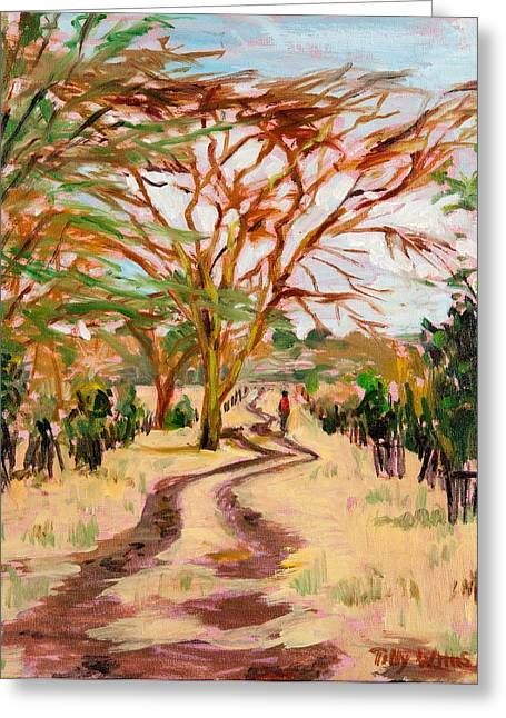 The Trees Greeting Cards - The Road Home, 2012 Oil On Canvas Greeting Card by Tilly Willis
