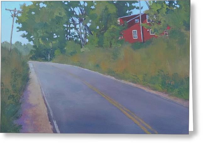 Rural Maine Roads Paintings Greeting Cards - The Road Home Greeting Card by Bill Tomsa