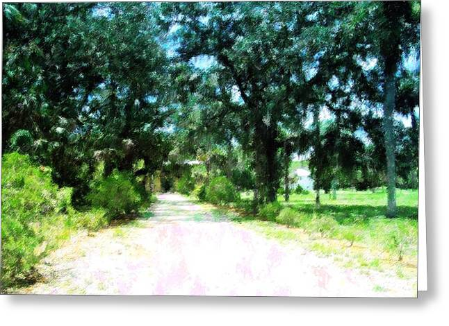 Gravel Road Mixed Media Greeting Cards - The Road Home Greeting Card by Florene Welebny