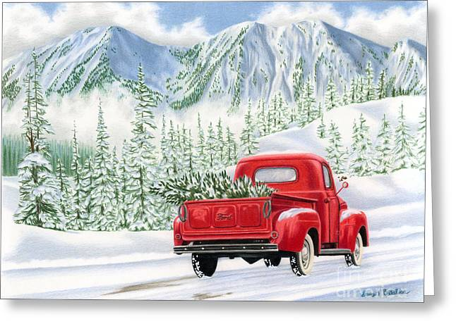 Snowy Roads Drawings Greeting Cards - The Road Home Greeting Card by Sarah Batalka