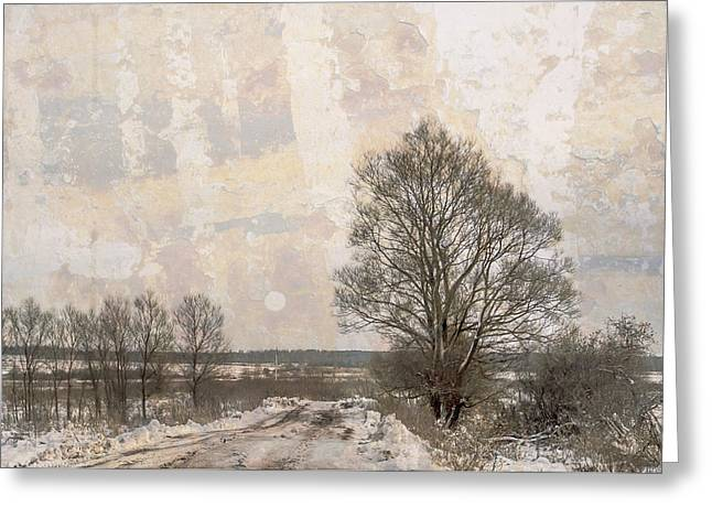 Snowy Day Greeting Cards - The Road in a Winter Day Greeting Card by Jenny Rainbow