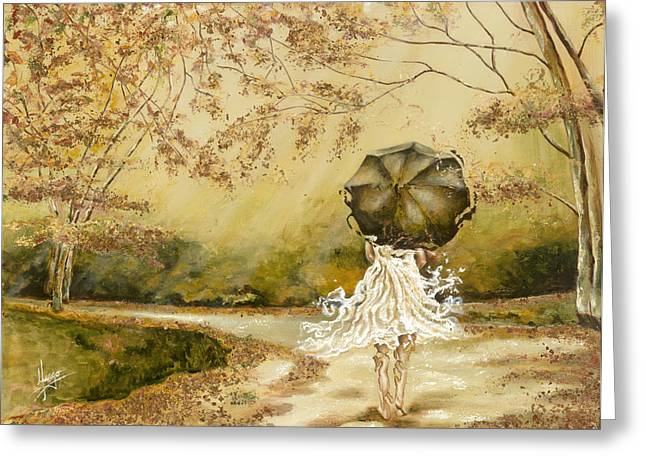White Dress Paintings Greeting Cards - The road Greeting Card by Karina Llergo Salto