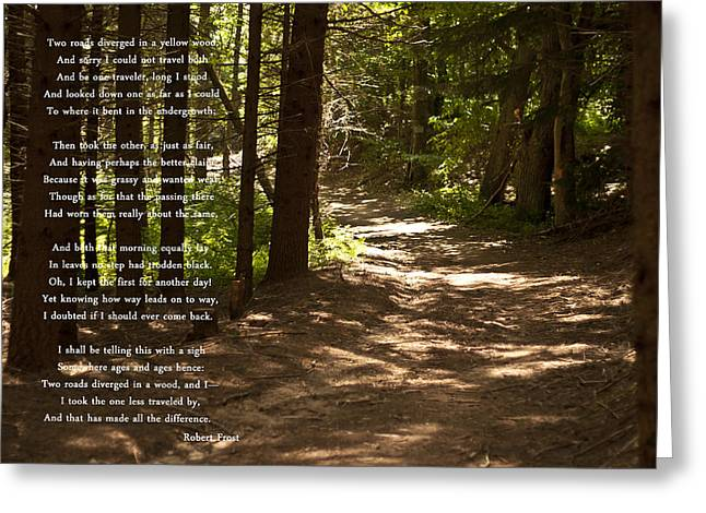 The Road Less Traveled - Robert Frost Path In The Woods Greeting Card by Georgia Fowler