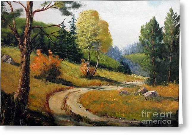 Roadway Greeting Cards - The Road Not Taken Greeting Card by Lee Piper