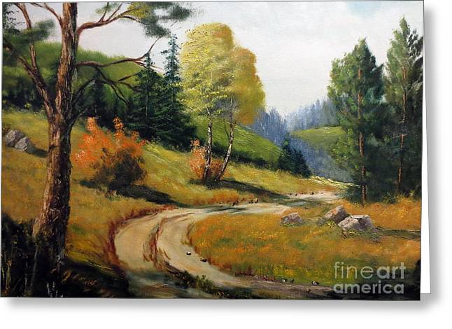Roadway Paintings Greeting Cards - The Road Not Taken Greeting Card by Lee Piper