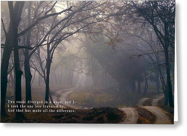 Goals In Life Greeting Cards - The ROAD TAKEN in LIFE Greeting Card by Daniel Hagerman