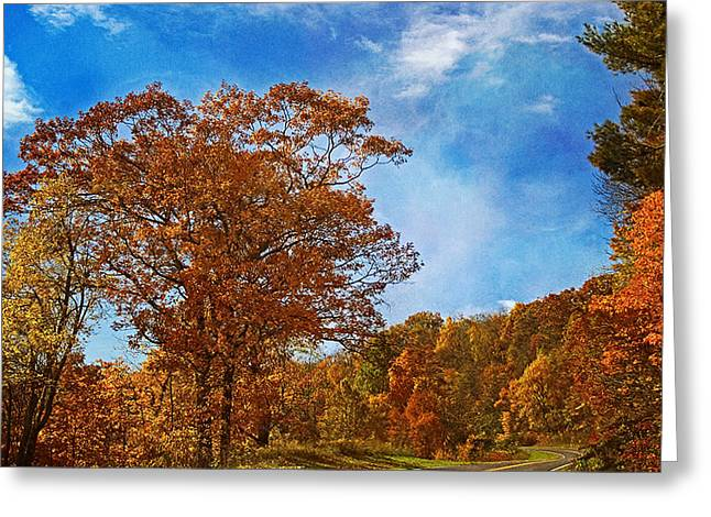 Change Of Seasons Greeting Cards - The Road to Autumn Greeting Card by Kim Hojnacki