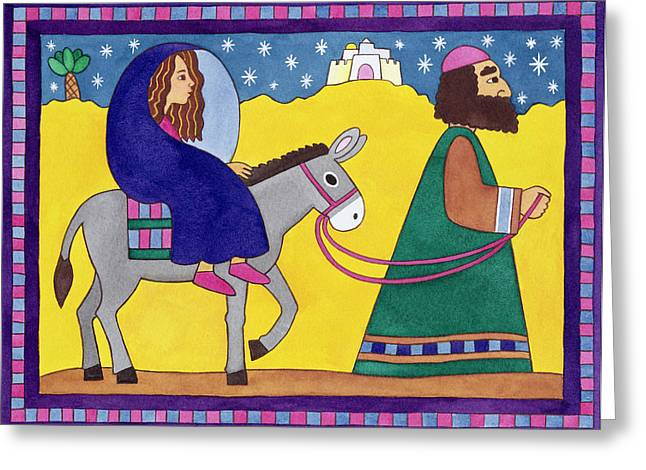 Artist Collection Greeting Cards - The Road to Bethlehem Greeting Card by Cathy Baxter