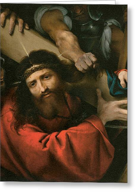 Calvary Greeting Cards - The Road to Calvary Greeting Card by Lorenzo Lotto