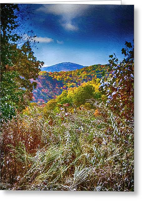 The Road To Cataloochee On A Frosty Fall Morning Greeting Card by John Haldane