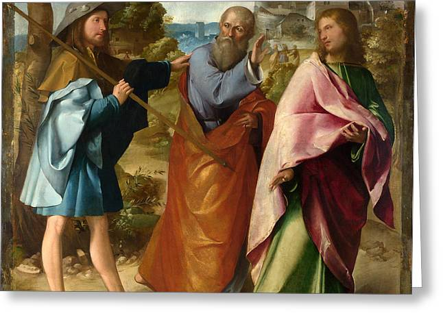 Road To Emmaus Greeting Cards - The Road to Emmaus Greeting Card by Altobello Melone