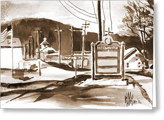 Winter Road Scenes Mixed Media Greeting Cards - The Road to Farmington Pilot Knob Missouri Greeting Card by Kip DeVore