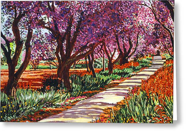 Pink Blossoms Greeting Cards - The Road to Giverny Greeting Card by David Lloyd Glover