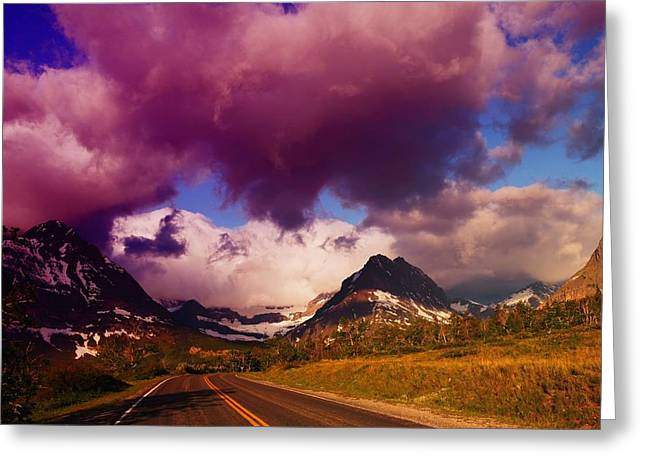 Roadway Greeting Cards - The Road To Glacier     Greeting Card by Jeff  Swan