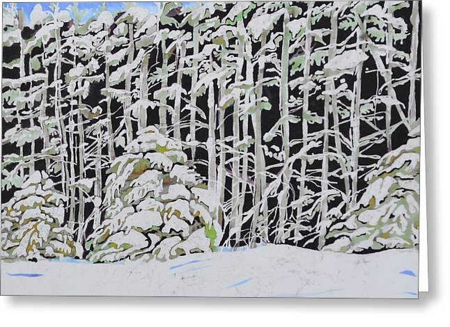 Winter-landscape Tapestries - Textiles Greeting Cards - The Road to Petoskey Greeting Card by Kate Ford