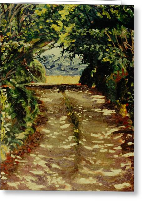 Gravel Road Paintings Greeting Cards - The Road to Phillipes Greeting Card by David Zimmerman