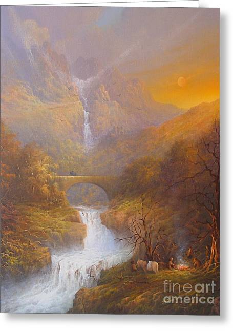 Hobbits Greeting Cards - The road to Rivendell The Lord of the Rings Tolkien inspired art  Greeting Card by Joe  Gilronan