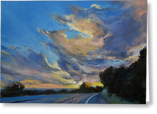 Road Trip Paintings Greeting Cards - The Road to Sunset Beach Greeting Card by Michael Creese